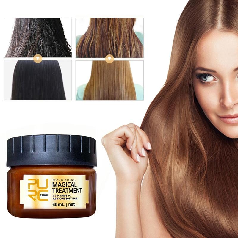 PURC 60ml Magical Hair Treatment Mask 5 Seconds Repairs Damage Hair Restore Soft Hair Keratin Hair & Scalp Treatments Mask TSLM1