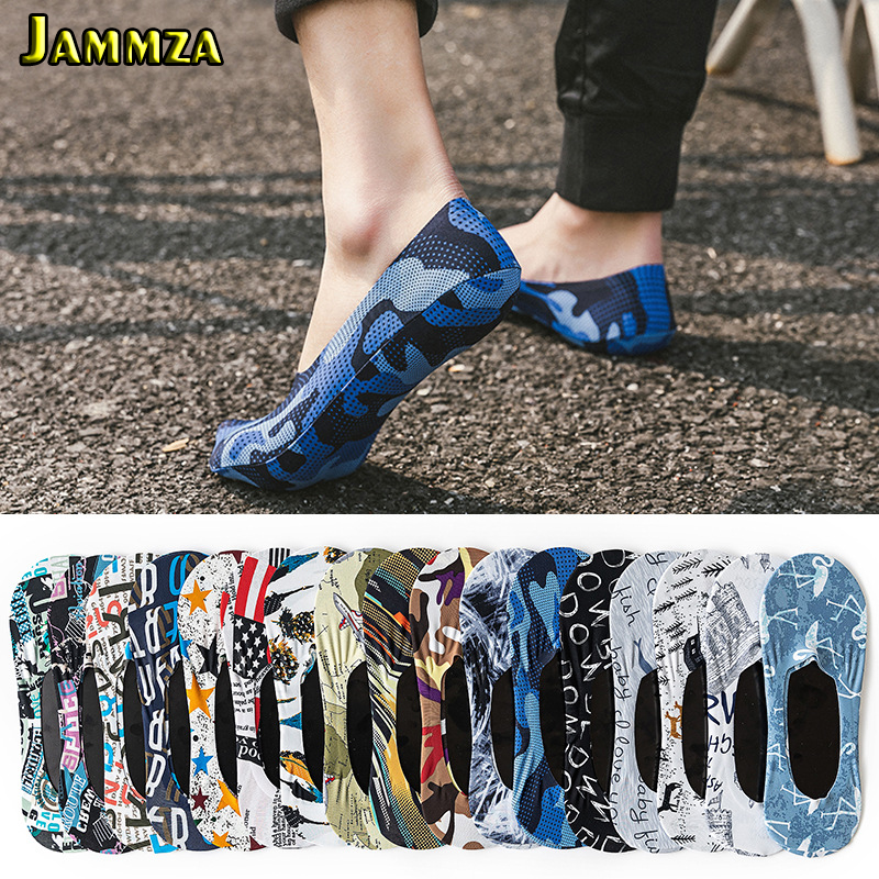Ultra-thin Summer Socks Man Ice Silk Breathable Cool No Show Socks Business Fashion Male Camouflage Hiphop Funny Socks