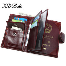 XDBOLO 2020 Female Wallet Leather Passport Holder Purses Genuine Leather Women Wallets Card Holder Passport Cover Wallet(China)