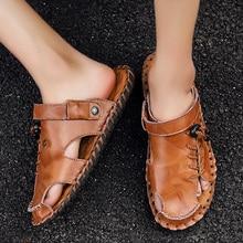 Men Sandals Gladiators Casual Roman Shoes Outside Breathable Mens Genuine Leather Slippers Summer Comfortable Sandalias Hombre