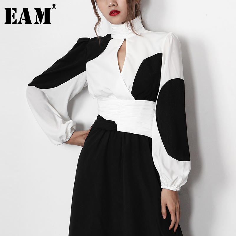 [EAM] Women White Contrast Color Hollow Out Blouse New Stand Collar Long Sleeve Loose Fit Shirt Fashion Spring Summer 2020 1Y595