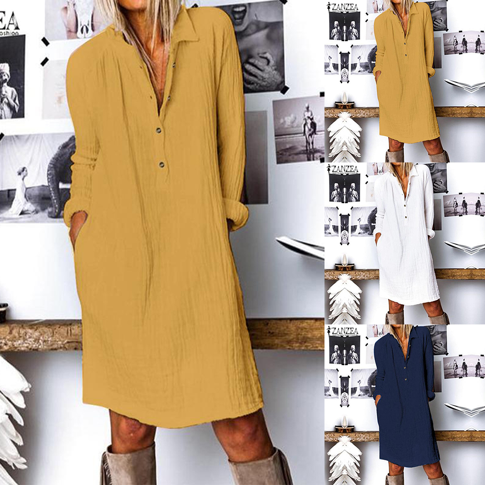 Fashion Autumn Lapel Neck Long Shirt Dress Women Long Sleeve Buttons Cotton Linen Sundress Casual Loose Work  Vestido