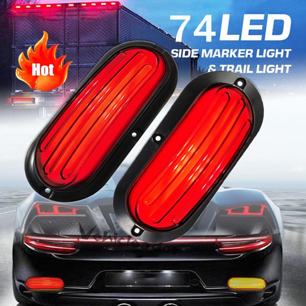 2pcs 74LED Trailer Truck Brake Led Light 12V/24V SUV Van RV Light Flowing Turn Signal Lamp Tail Light With Strobe Warning Light