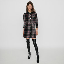 2019 Autumn/winter womens elegant plaid tweed dress high quality women long sleeves B028