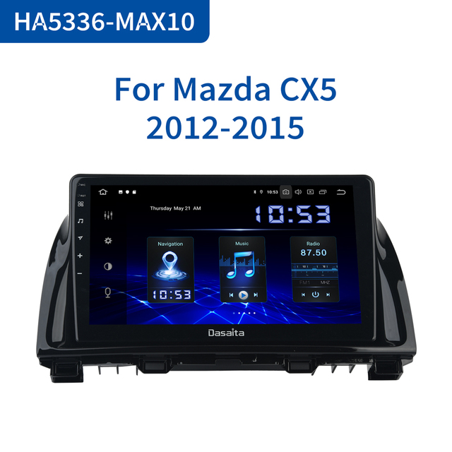 "Dasaita 1 Din Android 10.0 araba navigasyon GPS Mazda CX5 CX 5 2013 2014 2015 DSP 64GB ROM 10.2 ""IPS dokunmatik ekran"