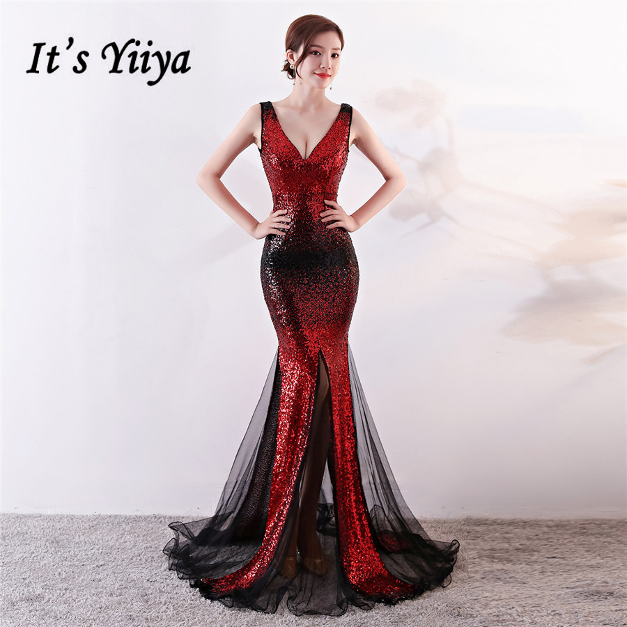 Formal Dress It's Yiiya DX337 Contrast Color Plus Size Mermaid Robe De Soiree Sleeveless V-Neck Sequined Dresses Woman Party