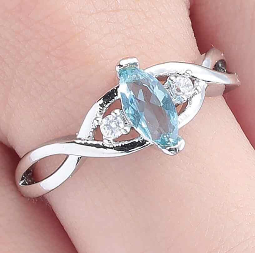 Brilliant Wunderschöne Cut 2CT AAA Natürliche mineralien Weiß Gold Engagement Hochzeit Versprechen Mode-Ring für Frauen