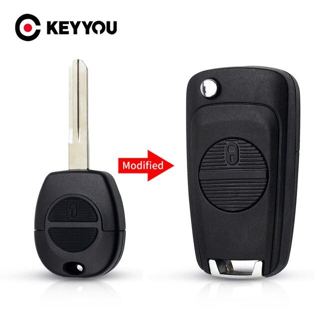 KEYYOU تعديل النائية مفتاح السيارة قذيفة حالة 2 أزرار لنيسان ميكرا المرية الدوري اكس تريل تقطيعه مفتاح حالة غطاء A33 شفرة