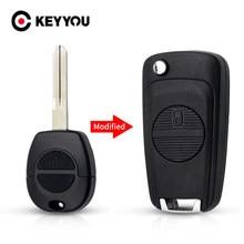 Keyyou modificado remoto caso escudo chave do carro 2 botões para nissan micra almera primera x-trail uncut caso chave capa a33 lâmina