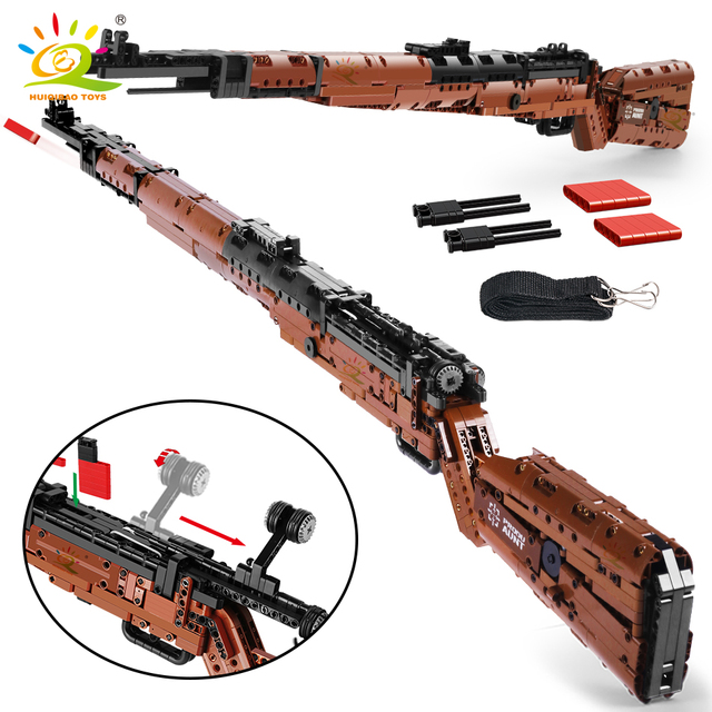HUIQIBAO 1025+PCS PUBGS 98K Sniper Rifle model Building Blocks set Technic Assembly Bricks City DIY Game Gun Toys For Children