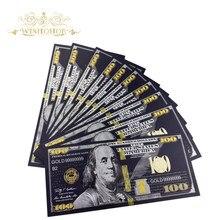 10 шт./лот американская черная Золотая банкнота 100 долларов США Золотая фольга банкнота поддельные деньги для коллекционирования подарков
