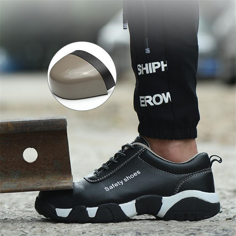 New Men Work Safety Shoes Industrial Construction Men's Steel Toe Puncture Proof Shoes Waterproof Indestructible Safety Boots image