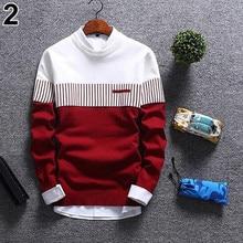 2019 Men's Casual Autumn Fashion Casual Strip Color Block Knitwear Jumper Pullover Sweater