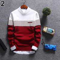 2019 Men's Casual Autumn Fashion Casual Strip Color Block Knitwear Jumper Pullover Sweater sale Material Cotton Free Shipping