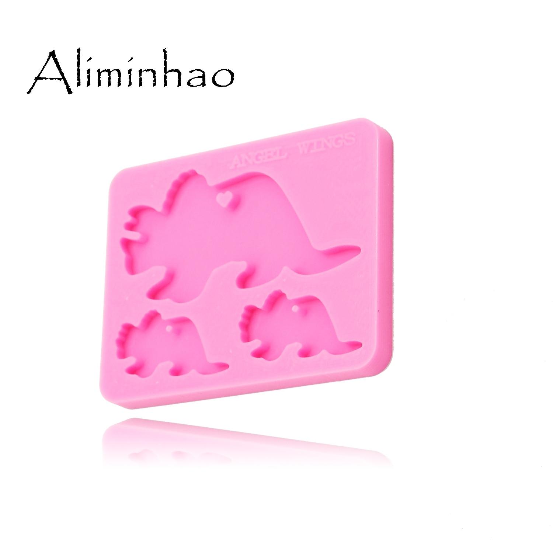 Shiny mama and baby Dinosaurs silicone key chain mold