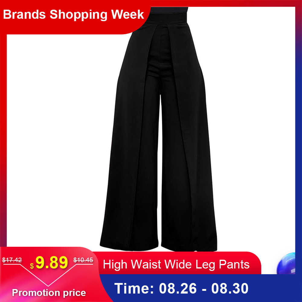 Baggy Women High Waist Wide Leg Pants 2019 White Black Summer Autumn Zipper Casual Office Loose Long Trousers pantalon femme
