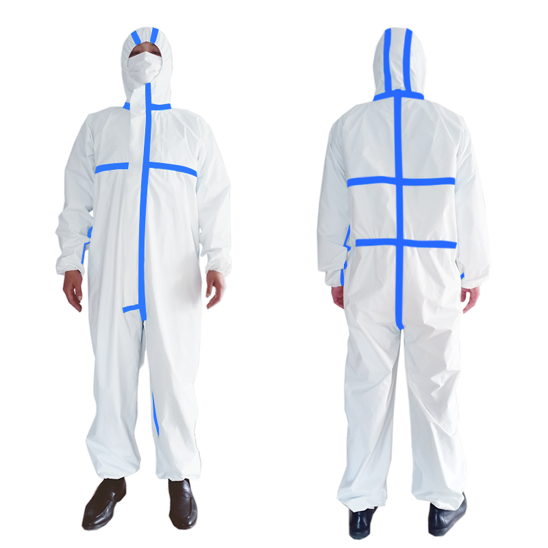 PPE Suit Anti-Virus  Coverall Hazmat Suit Protective Disposable Clothing Disposable Factory Hospital Safety Clothing