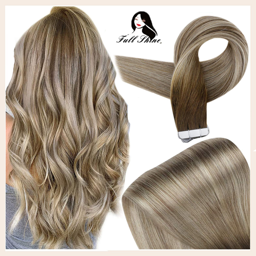 Полностью Блестящая лента для наращивания волос Balayage, 100% натуральные человеческие волосы для наращивания, 20 шт., 50 г, бесшовные волосы Remy
