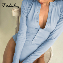 Fitshinling Buttons Up Autumn Jumpsuits Bodysuit Women Fashion Streetwear Long Sleeve Body Mujer Light Blue Sexy Bodysuits Sale цены