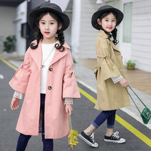 Korean Kids Girls Trench Coat With Belt Fashion 8 to 10 Years Children Flare Sleeve Coats for Extra Long Overcoat