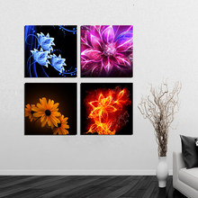 Canvas HD Prints 4 Piece Abstract Flower Poster Wall Art Home Decoration Painting Modular Pictures Artwork For Living Room Frame(China)