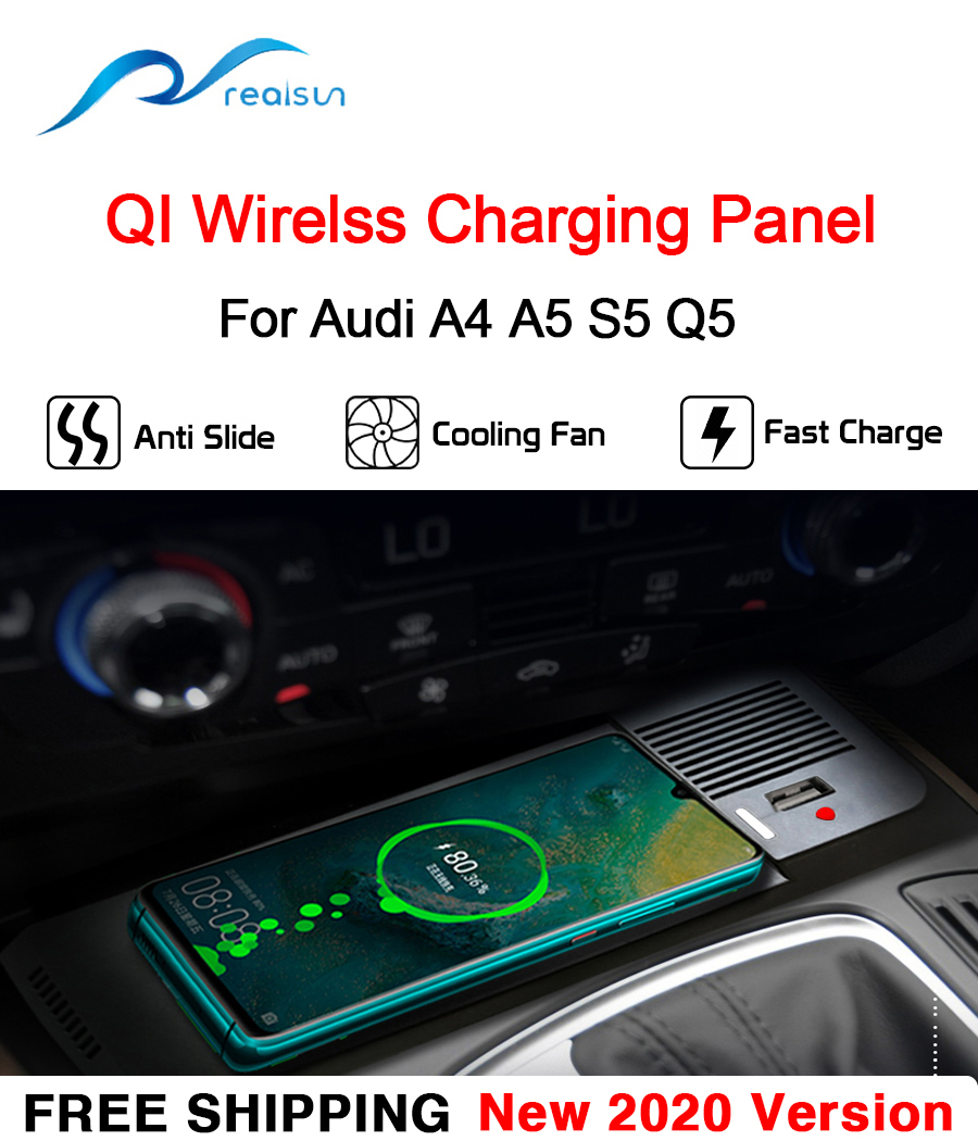 For Audi A4 A5 S5 Q5 Car 15W New QI Wireless Charger Accessories Phone Plate Fast Charging Panel For iPhone 8 iPhone X iPhone 11