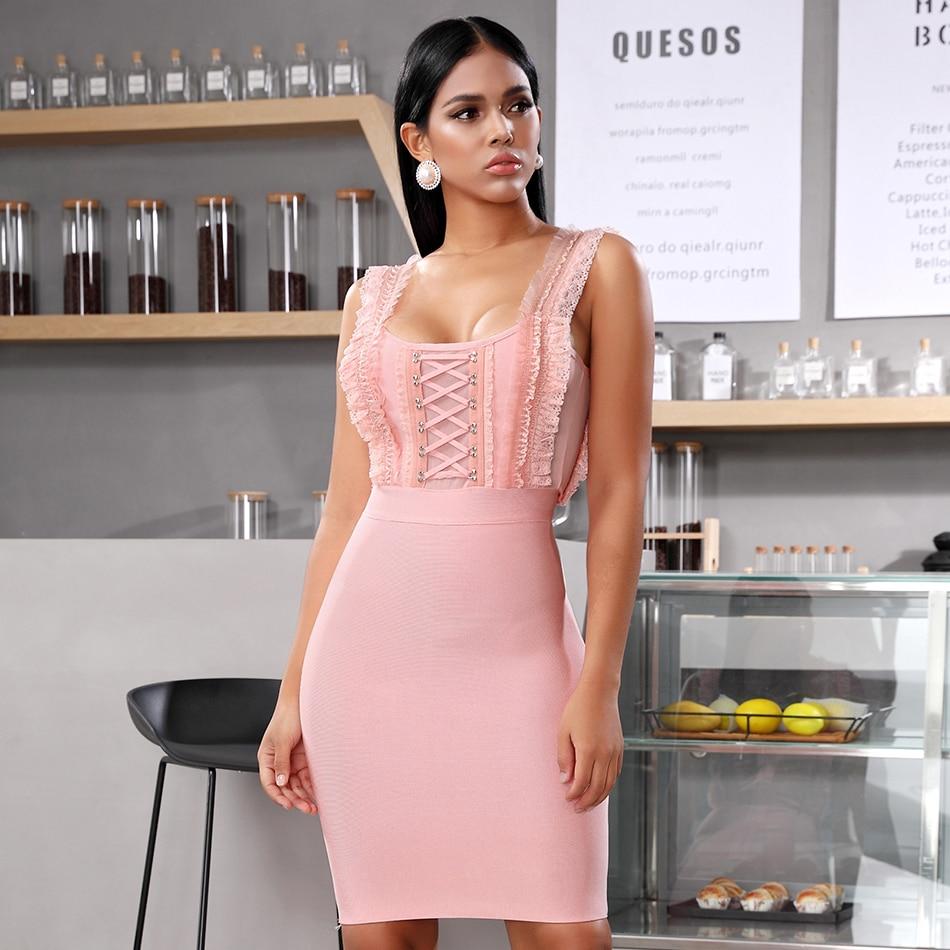 Adyce 2020 New Summer Pink Lace Ruffles Bandage Dress Women Sexy Sleeveless Bodycon Club Celebrity Evening Party Dress Vestidos