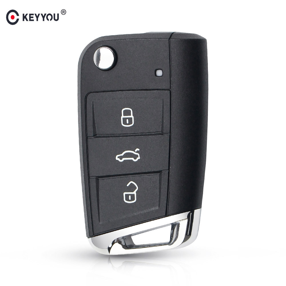 KEYYOU 3 Button Folding Flip <font><b>Remote</b></font> Car <font><b>Key</b></font> Shell Fob Case For Volkswagen Passat <font><b>Golf</b></font> <font><b>7</b></font> MK7 Skoda Seat Leon polo Skoda Octavia image