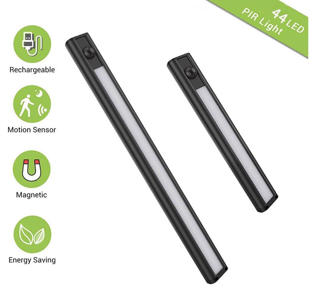 28/44LED Magnet USB Rechargeable LED Under Cabinet Light PIR Motion Sensor led Closet Night Light for Wardrobe Cupboard Kitchen|Under Cabinet Lights| |  - title=