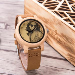 Image 2 - מותאם אישית שעונים אישי תמונה הדפסת מותאם אישית שעון זוג גברים נשים גודל עם עץ אריזת מתנה אנלוגי Relogio Feminino Masculino
