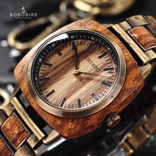 BOBOBIRD relojes de madera de cebra para hombre y mujer, reloj de pulsera Erkek Kol Saati con caja de regalo, se acepta Personalización de logotipo L T06