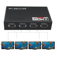Divisor hdmi 1 em 4 para fora full hd, 4 entradas, hub, repetidor, amplificador v1.4 3d 4k 1080p para hdtv dvd para ps3 xbox