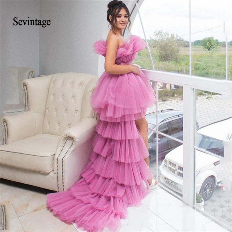 Sevintage High Low Tiered Tulle Puffy Prom Dresses 2020 Ruched Strapless Special Occasion Party Evening Gowns Vestido De Noche