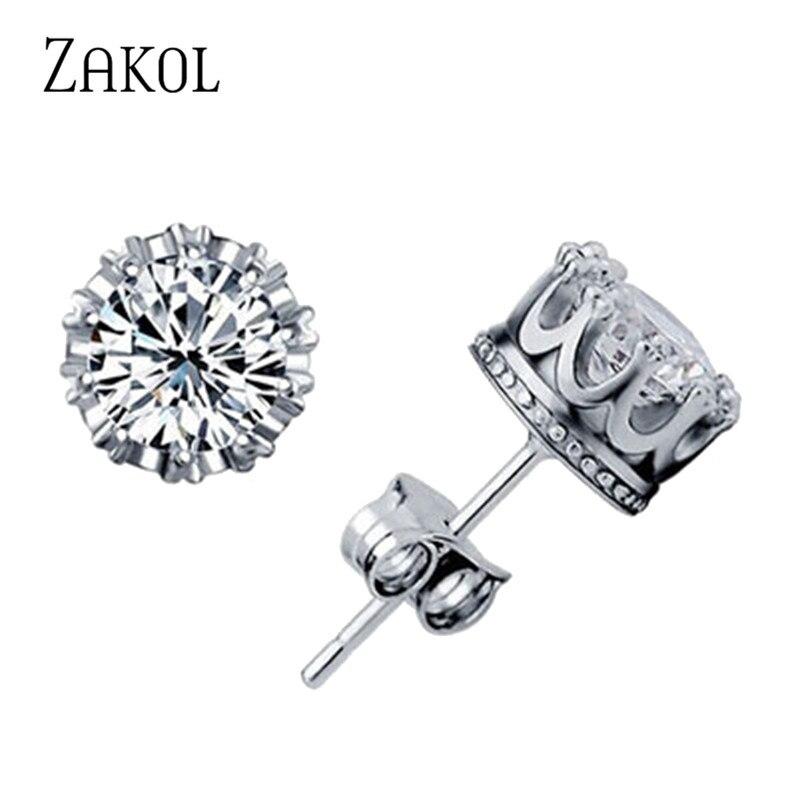 ZAKOL Fashion Jewelry Crown Women Classic Shining Zircon Small Stud Earrings Gold Color Ears Stud For Men Crystal Earring EP398