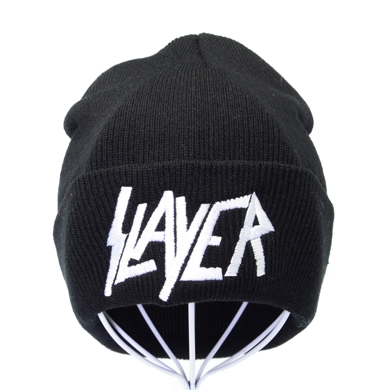 Rock Slayer Band Knitted Hat Winter Warm Women Letter Embroideryt Beanie Cap Unisex Rock Hip-hop Beanies Outdoor Ski Bonnet Caps