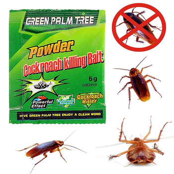 Effective 1 Pack Green Leaf Powder Cockroach Killer Bait Repellent Kill Pest Control Trap For Kitchen Effective Killing Roaches image