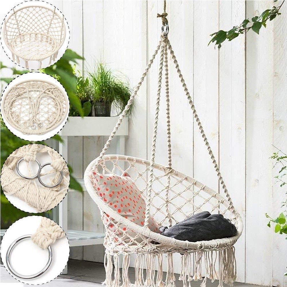 Hammock Chair Macrame Swing Boho Style Rattan Chair Hanging