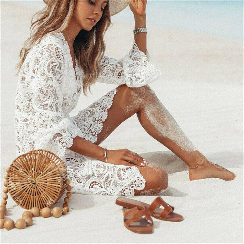 Summer Women Dresses Bikini Cover Up Floral Lace Hollow Crochet Swimsuit Cover-Ups Bathing Suit Beachwear Tunic Beach Dress