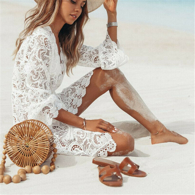 Summer Women Dresses Bikini Cover Up Floral Lace Hollow Crochet Swimsuit Cover-Ups Bathing Suit Beachwear Tunic Beach Dress