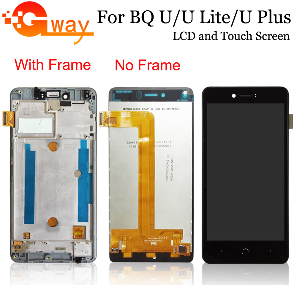 For BQ Aquaris U Lite LCD Display+Touch Screen With Frame 100% Tested Screen Digitizer Assembly Replacement For BQ Aquaris U