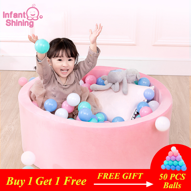 Infant Shining Ocean Ball Pool Diameter 80CM 31IN Suede Fence 5CM Thickness Sponge Filled Ball Pool