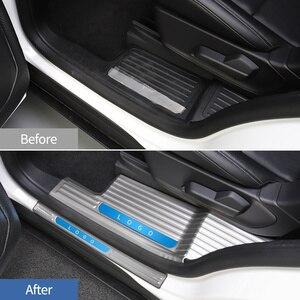 Image 2 - JHO placa de desgaste de umbral de puerta de acero inoxidable, Protector de Pedal de entrada, cubierta protectora para Ford Explorer 2020 2021, accesorios de coche
