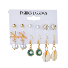 ins Beach Natural Sea Shell Earring Set Statement starfish Shell pear Earring For Women Jewelry Geometry Earrings femme ER200109 2018 japanese style asymmetric starfish shell crystal stud earring women girl cute beach vacation starfish earring