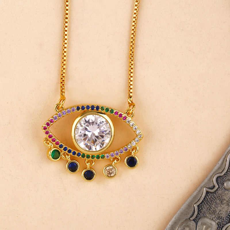 2019 tureckich szczęście naszyjnik oko proroka złoty łańcuch cyrkonia Big kryształ biały oko wisiorek naszyjniki biżuteria nke-p55