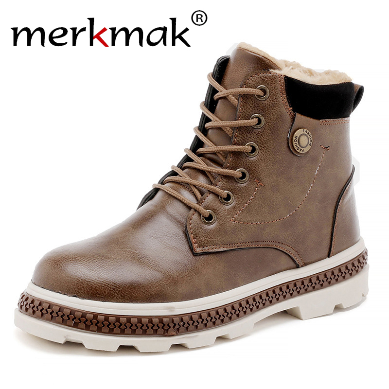 Merkmak Newest Classic Casual Men Boots Autumn Winter Shoes With Fur Comfortable Lace-up Ankle Boots Thick Bottom Boots Men