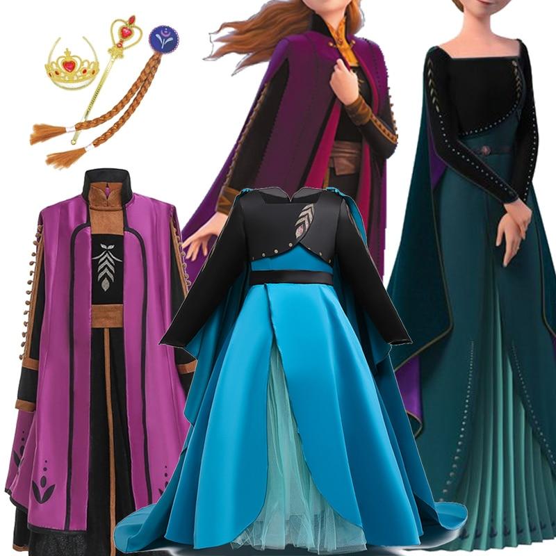 Meninas 2 anna vestido elegante elsa vestido de princesa crianças vestidos para meninas cosplay traje carnaval festa crianças roupas vestidos
