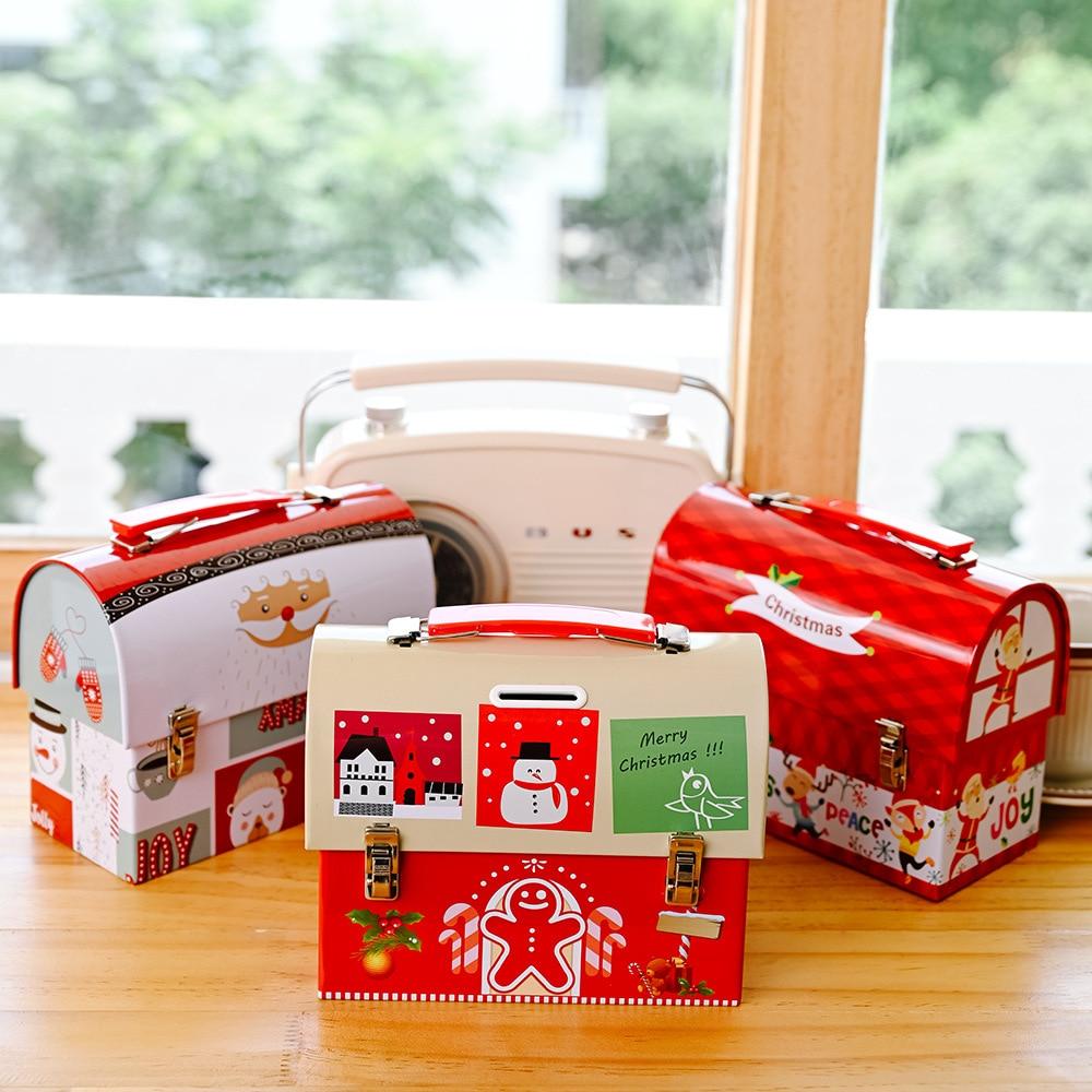 Christmas Decoration Tinplate Savings Box Santa Claus Wrought Iron Storage Tank Cartoon Candy Box Children Adult GiftDecorations