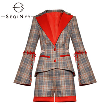 SEQINYY Women Set 2020 Spring Autumn New Fashion Design Long Sleeve Mesh Jacket + Pocket Shorts Plaid High Quality Suit