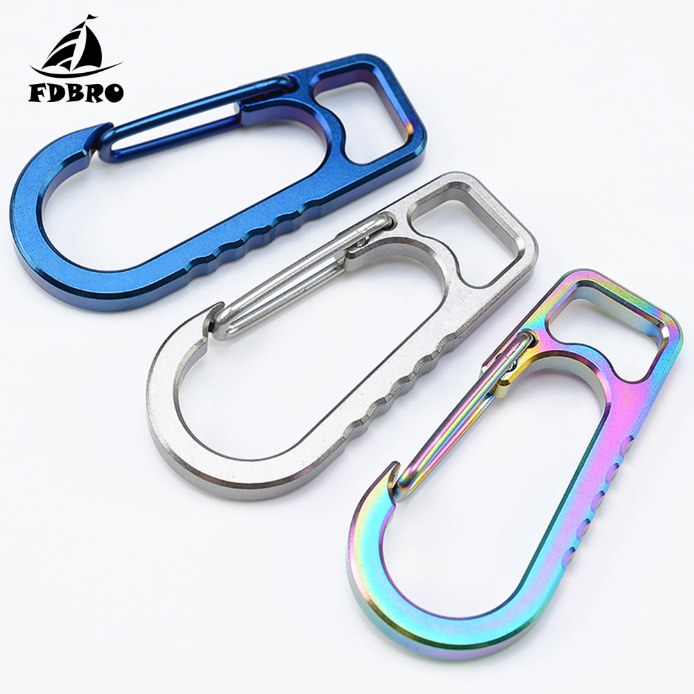Titanium Quick Hung Buckle Carabiner Snap Spring Clips Hook Survival Keychain