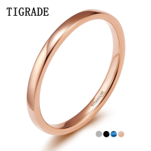 TIGRADE 2mm Silver Titanium Ring Women High Polished Simple Rings Female Annulus Wedding Engagemrnt Jewelery